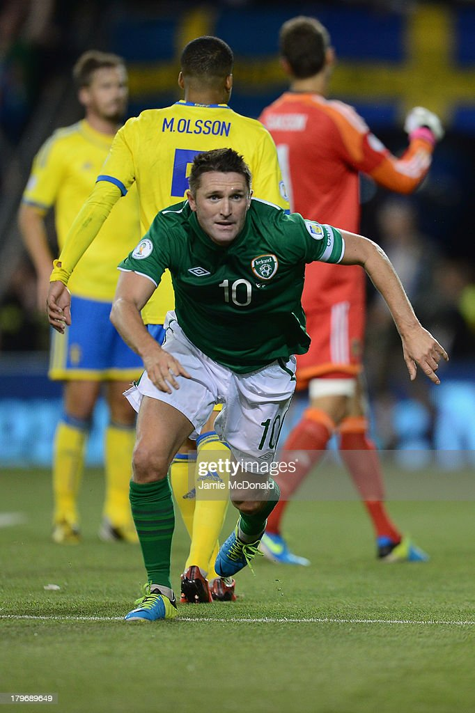 Robbie Keane of Republic of Ireland celebrates his goal during the FIFA 2014 World Cup Qualifying Group C match between Republic of Ireland and Sweden at Aviva Stadium on September 6, 2013 in Dublin, Ireland.