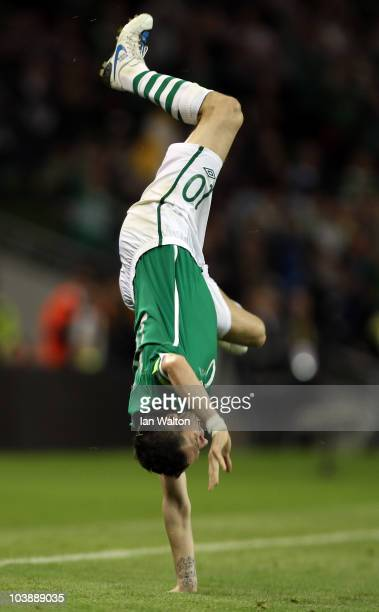 Robbie Keane of Republic of Ireland celebrates scoring the 3rd goal during the UEFA EURO 2012 Group B Qualifier between Republic of Ireland and...
