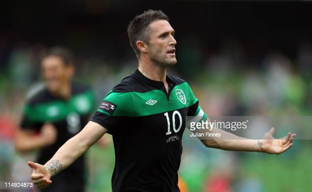 Robbie Keane of Republic of Ireland celebrates scoring the openning goal during the Carling Nations Cup match between Republic of Ireland and...