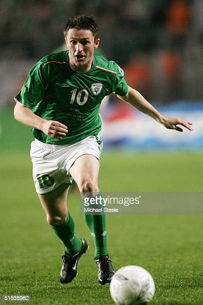 Robbie Keane of Republic of Ireland runs with the ball during the FIFA World Cup Group 4 qualifying match between Ireland and Faroe Islands at...