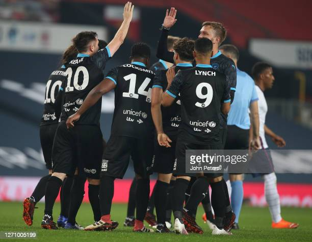 Robbie Keane of Rest of the World celebrates scoring their first goal during the Soccer Aid for Unicef 2020 match between England and Rest of the...