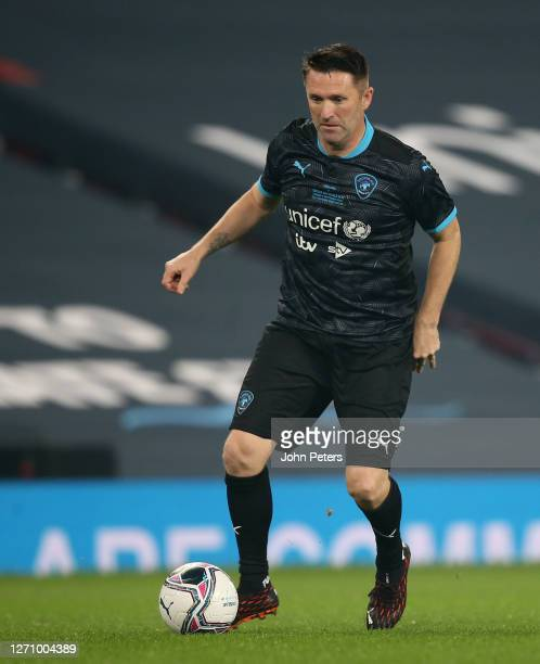 Robbie Keane of Rest of the World in action during the Soccer Aid for Unicef 2020 match between England and Rest of the World at Old Trafford on...