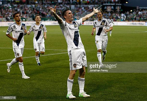 Robbie Keane of the Los Angeles Galaxy celebrates scoring a goal in the first half against the Portland Timbers on July 14 2012 at JeldWen Field in...
