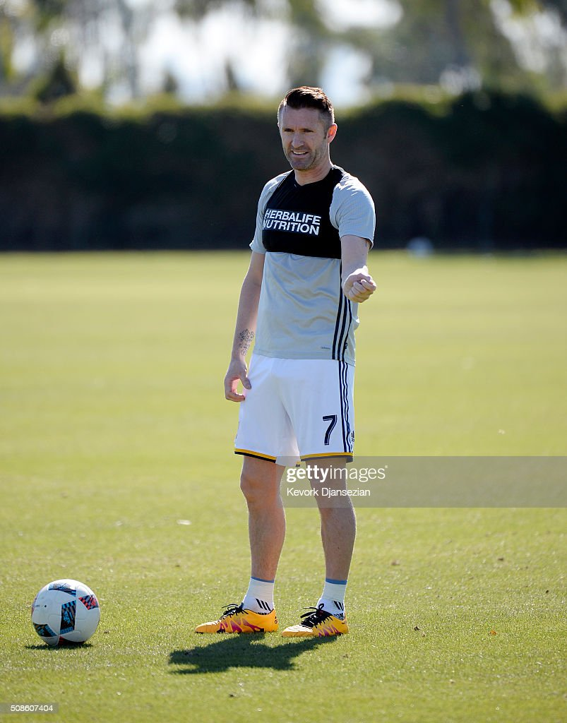 Robbie Keane #7 of the Los Angeles Galaxy during training session at StubHub Center February 5, 2016, in Carson, California.