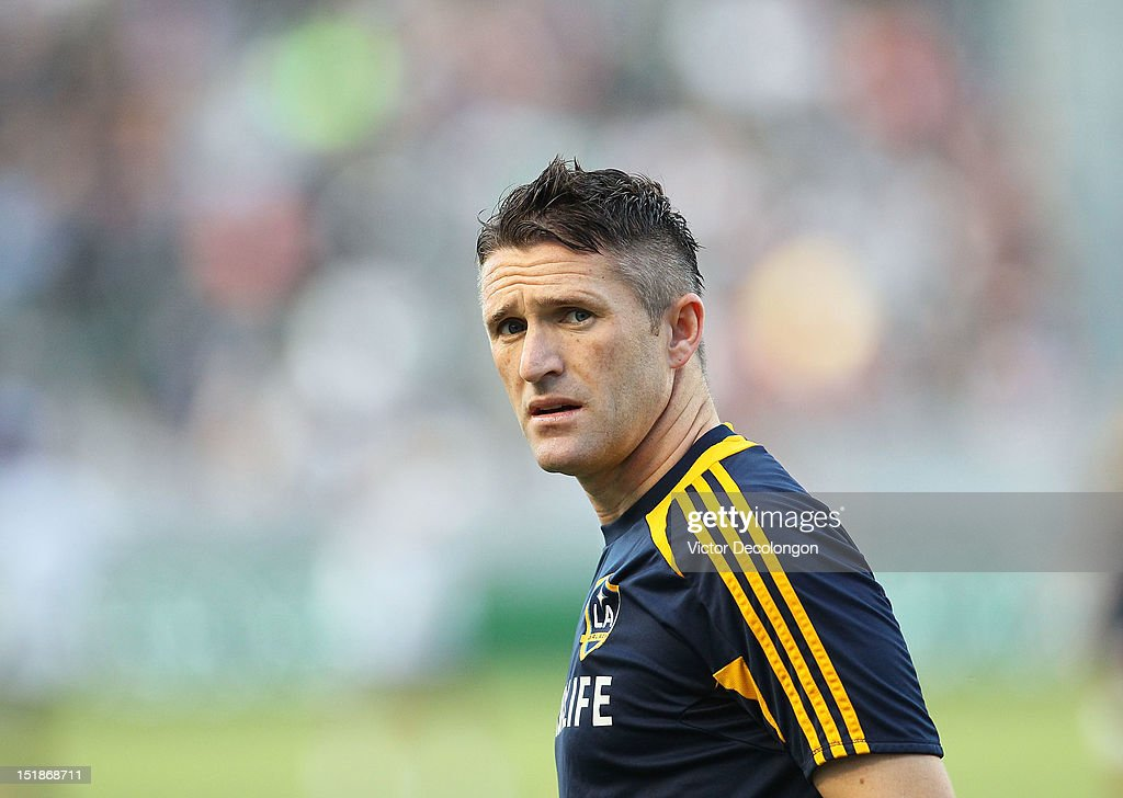 Robbie Keane #7 of the Los Angeles Galaxy looks on during warm-up prior to the MLS match against the Philadelphia Union at The Home Depot Center on July 4, 2012 in Carson, California. The Union defeated the Galaxy 2-1.