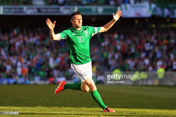 Robbie Keane of the Republic of Ireland celebrates after scoring during the FIFA 2014 World Cup Qualifier between Republic of Ireland and the Faroe...