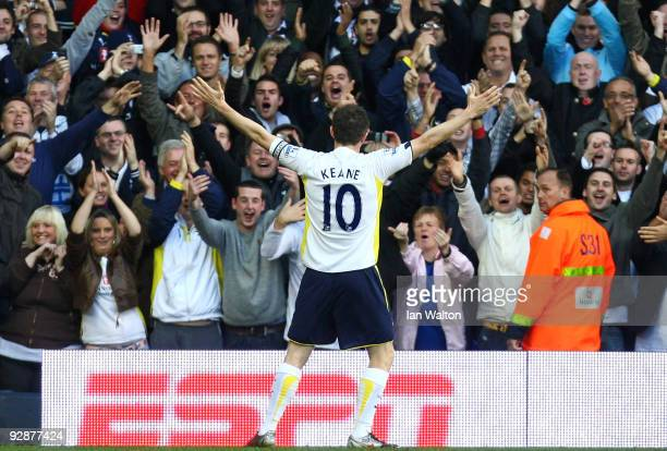 Robbie Keane of Tottenham Hotspur celebrates after scoring during the Barclays Premier League match between Tottenham Hotspur and Sunderland at White...