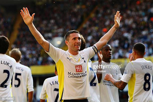 Robbie Keane of Tottenham Hotspur celebrates scoring his second goal during the Barclays Premier League match between Tottenham Hotspur and Burnley...
