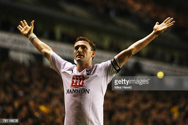Robbie Keane of Tottenham Hotspur celebrates scoring his sides second goal during the Barclays Premier League match between Tottenham Hotspur and...