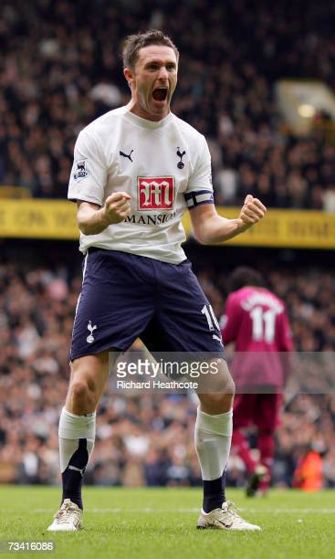 Robbie Keane of Tottenham Hotspur celebrates scoring the third goal during the Barclays Premiership match between and Tottenham Hotspur and Bolton...
