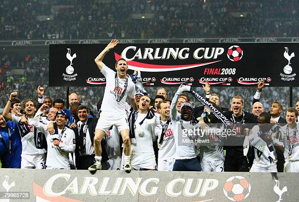 Robbie Keane of Tottenham Hotspur leads the celebrations following victory during the Carling Cup Final between Tottenham Hotspur and Chelsea at...