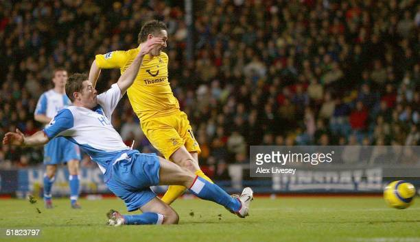 Robbie Keane of Tottenham Hotspur scores the winning goal during the Barclays Premiership match between Blackburn Rovers and Tottenham Hotspur at...