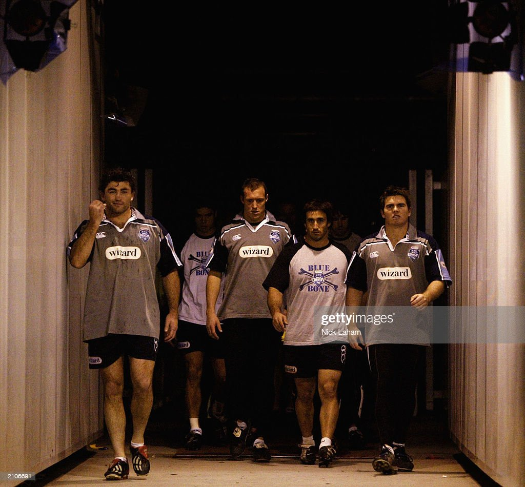 Robbie Kearns, Craig Fitzgibbon, Andrew Johns and Jamie Lyon walk through the tunnel during New South Wales State of Origin Training June 24, 2003 at Telstra Stadium in Sydney, Australia.