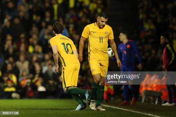 Robbie Kruse and Andrew Nabbout of Australia during the International friendly match between Colombia and Australia at Craven Cottage on March 27...