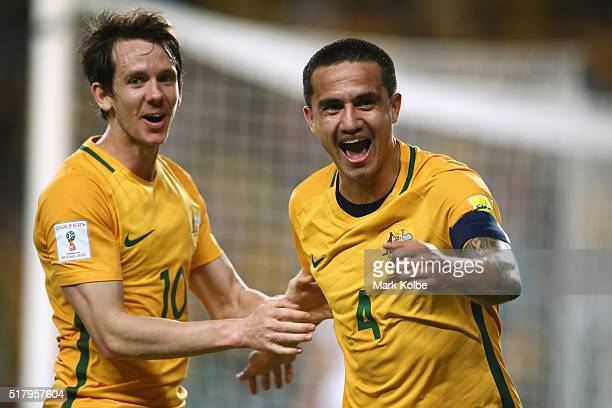 Robbie Kruse and Tim Cahill of Australia celebrate Tim Cahill scoring a goal during the 2018 FIFA World Cup Qualification match between the...