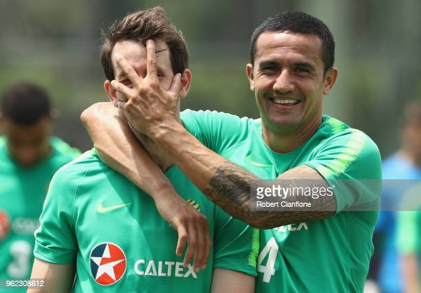 Robbie Kruse and Tim Cahill of Australia walk off the pitch after the Australian Socceroos Training Session at Gloria Football Club on May 25 2018 in...