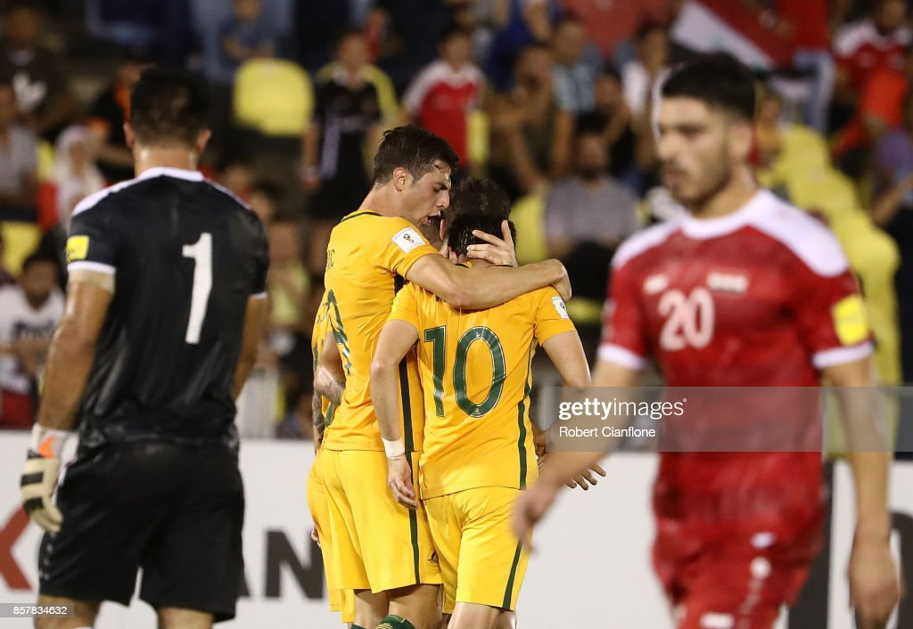 Robbie Kruse of Australia celebrates after scoring a goal during the 2018 FIFA World Cup Asian Playoff match between Syria and the Australia Socceroos at Hang Jebat Stadium on October 5, 2017 in Malacca, Malaysia.
