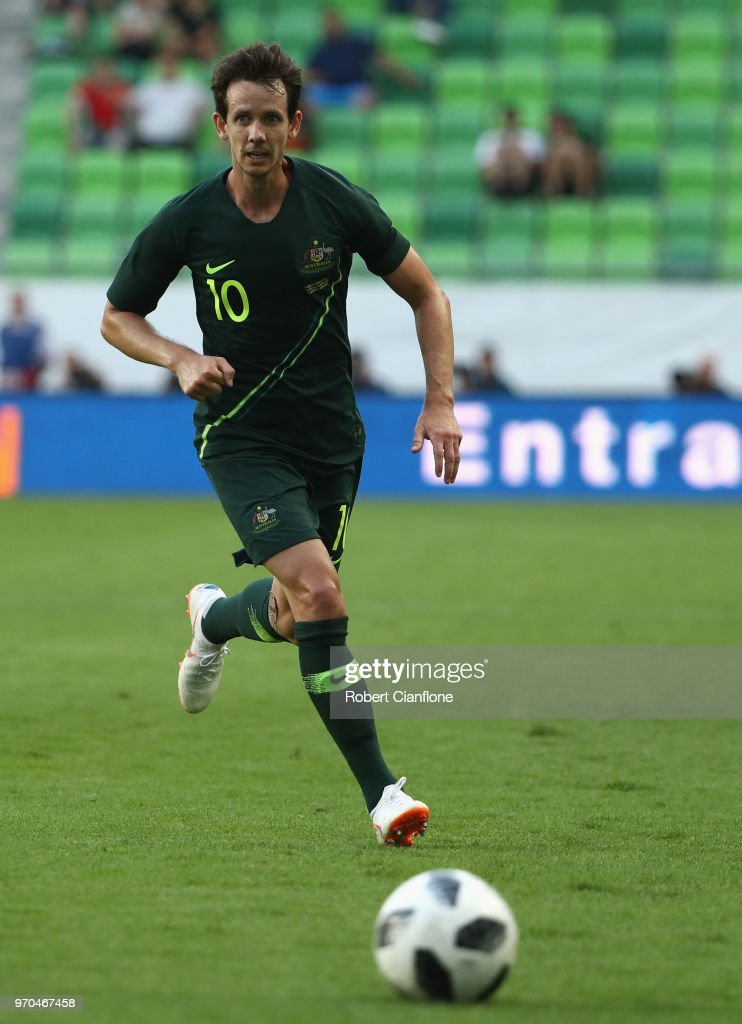 Robbie Kruse of Australia chases the ball during the International Friendly match between Hungary and Australia at Groupama Arena on June 9, 2018 in Budapest, Hungary.