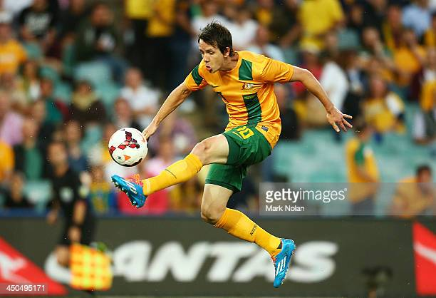 Robbie Kruse of Australia controls the ball during the international friendly match between the Australian Socceroos and Costa Rica at Allianz...