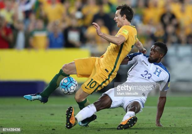 Robbie Kruse of Australia is fouled by Johnny Palacios of Honduras for a penalty during the 2018 FIFA World Cup Qualifiers Leg 2 match between the...