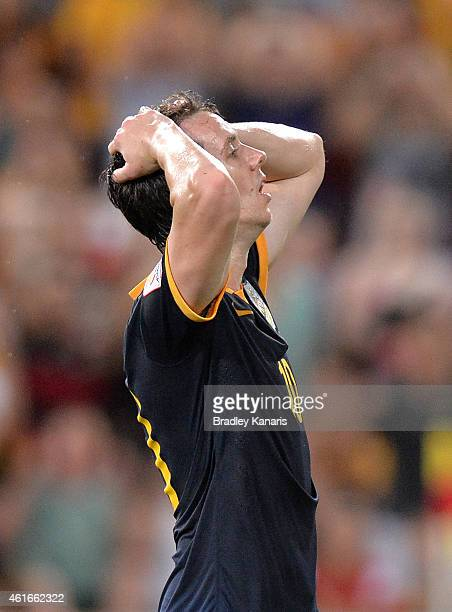 Robbie Kruse of Australia reacts after missing a shot at goal during the 2015 Asian Cup match between Australia and Korea Republic at Suncorp Stadium...