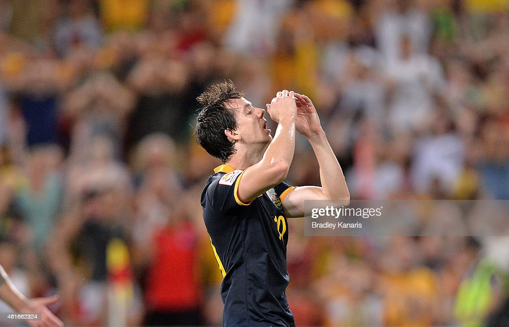 Robbie Kruse of Australia reacts after missing a shot at goal during the 2015 Asian Cup match between Australia and Korea Republic at Suncorp Stadium on January 17, 2015 in Brisbane, Australia.