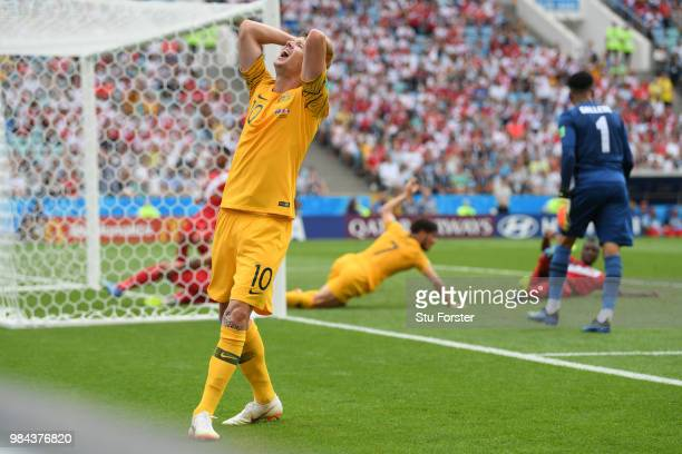 Robbie Kruse of Australia reacts during the 2018 FIFA World Cup Russia group C match between Australia and Peru at Fisht Stadium on June 26 2018 in...