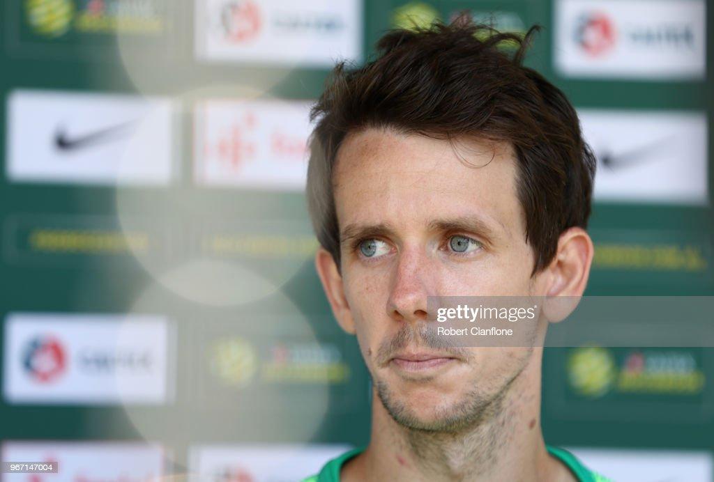 Robbie Kruse of Australia speaks to the media after the Australian Socceroos Training Session at the Gloria Football Club on June 4, 2018 in Antalya, Turkey.