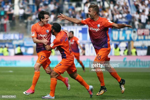 Robbie Kruse of Bochum celebrates his team's second goal with team mates Selim Guenduez and Lukas Hinterseer during the Second Bundesliga match...