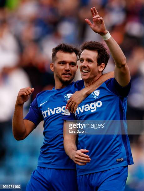 Robbie Kruse of Bochum celebrates with team mates after scoring his teams first goal during the Second Bundesliga match between VfL Bochum 1848 and...