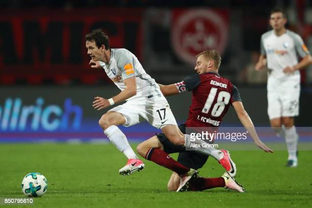 Robbie Kruse of Bochum eludes Hanno Behrens of Nuernberg during the Second Bundesliga match between 1 FC Nuernberg and VfL Bochum 1848 at...