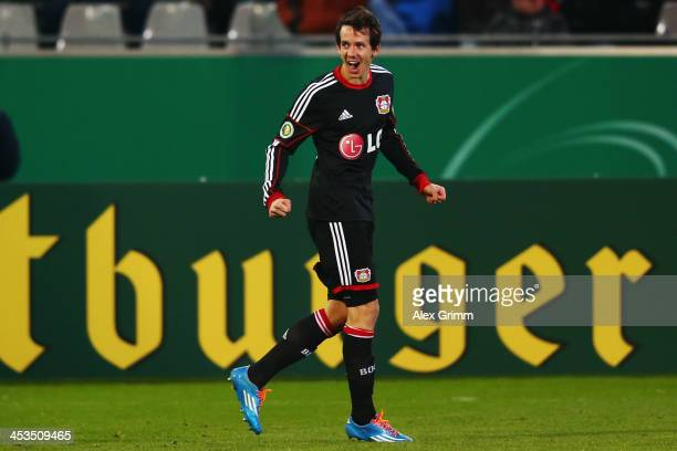 Robbie Kruse of Leverkusen celebrates his team's first goal during the German Cup Round of 16 match between SC Freiburg and Bayer Leverkusen at MAGE...