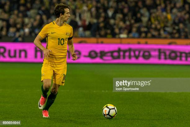 Robbie Kruse of the Australian National Soccer Team looks for options during the International Friendly Match Between Brazilian National Football...