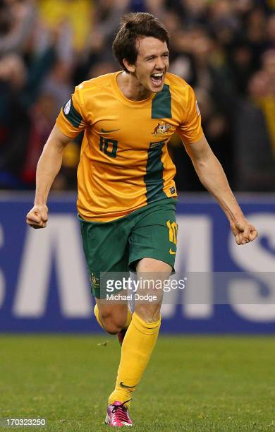 Robbie Kruse of the Socceroos celebrates a goal during the FIFA World Cup Qualifier match between the Australian Socceroos and Jordan at Etihad...