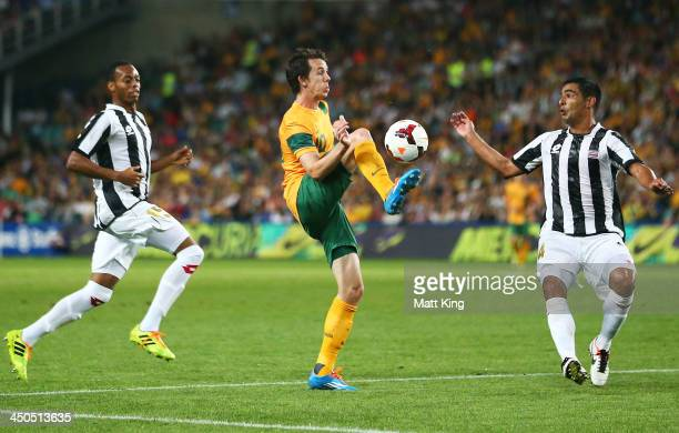Robbie Kruse of the Socceroos controls the ball during the international friendly match between the Australian Socceroos and Costa Rica at Allianz...