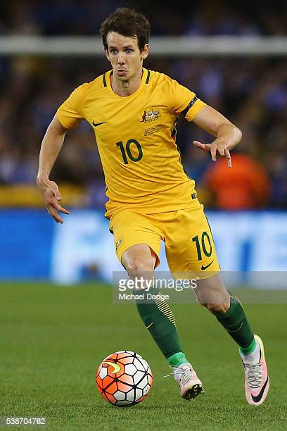 Robbie Kruse of the Socceroos runs with the ball during the International Friendly match between the Australian Socceroos and Greece at Etihad...