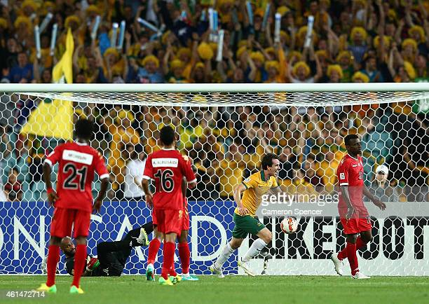 Robbie Kruse of the Socceroos scores a goal during the 2015 Asian Cup match between Oman and Australia at ANZ Stadium on January 13 2015 in Sydney...