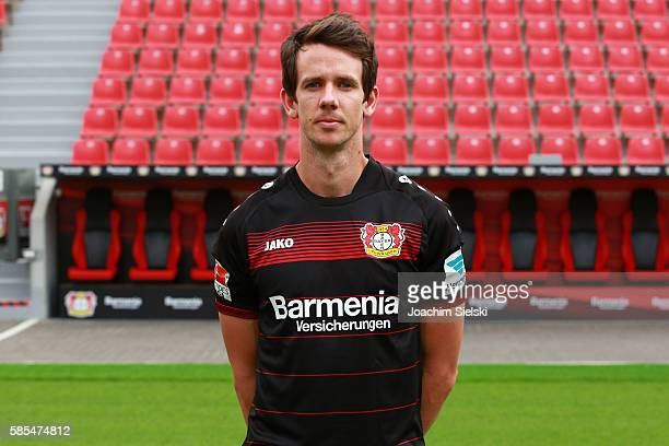 Robbie Kruse poses during the official team presentation of Bayer Leverkusen at BayArena on July 25 2016 in Leverkusen Germany
