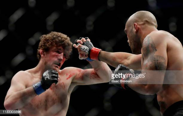 Robbie Lawler and Ben Askren trade punches during their welterweight bout during UFC 235 at TMobile Arena on March 02 2019 in Las Vegas Nevada Askren...