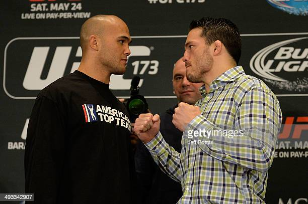 Robbie Lawler and Jake Ellenberger square off for the media during the UFC 173 Ultimate Media Day at the MGM Grand Garden Arena on May 22 2014 in Las...