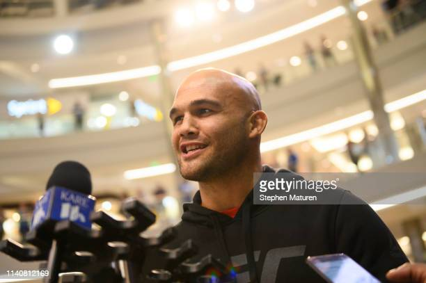 Robbie Lawler answers questions from media members during the UFC Fight Night Open Workouts event at the Mall of America on May 2 2019 in Minneapolis...