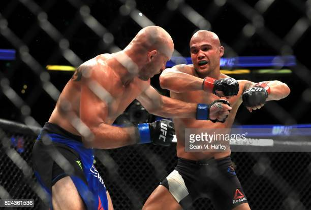 Robbie Lawler fights Donald Cerrone during their Welterweight bout at UFC 214 at Honda Center on July 29 2017 in Anaheim California