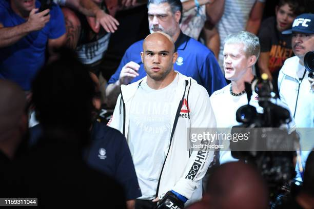 Robbie Lawler prepares to enter the Octagon prior to his welterweight bout against Colby Covington during the UFC Fight Night event at the Prudential...