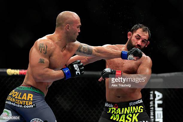 Robbie Lawler punches Johny Hendricks in their welterweight title fight during the UFC 181 event at the Mandalay Bay Events Center on December 6 2014...