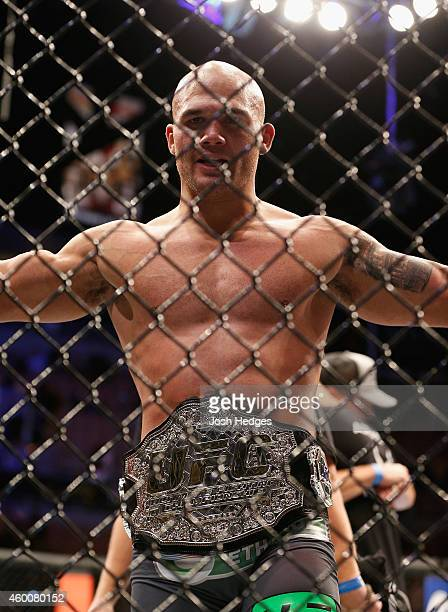Robbie Lawler reacts to his victory over Johny Hendricks in their UFC welterweight championship bout during the UFC 181 event inside the Mandalay Bay...