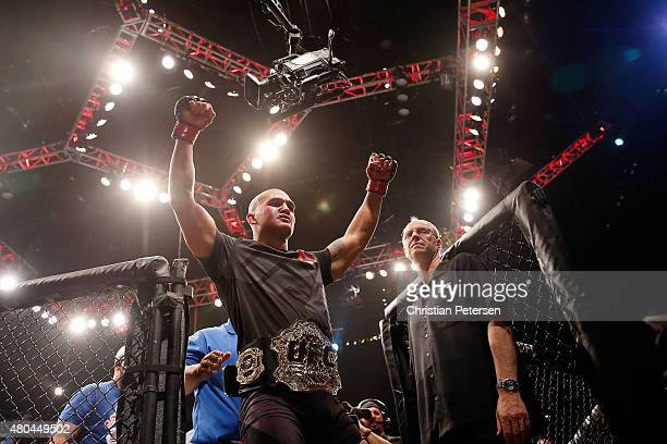 Robbie Lawler reacts to his victory over Rory MacDonald in their UFC welterweight title fight during the UFC 189 event inside MGM Grand Garden Arena...