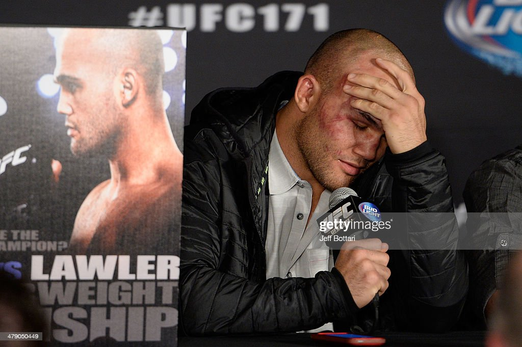 Robbie Lawler speaks to the media during the UFC 171 press conference inside American Airlines Center on March 15, 2014 in Dallas, Texas.