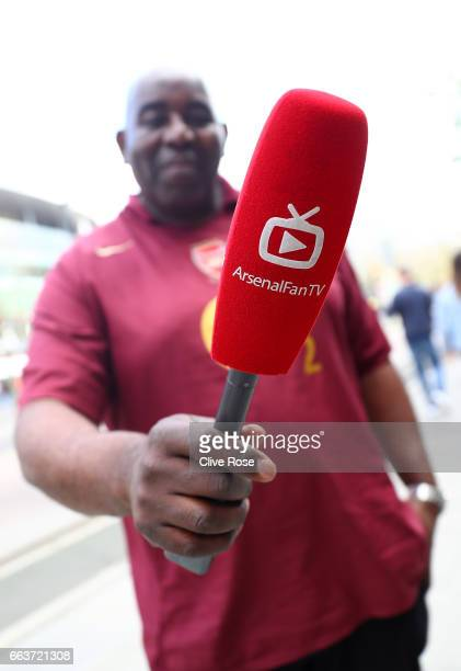 Robbie Lyle presentor of Arsenal Fan TV poses for a photograph prior to the Premier League match between Arsenal and Manchester City at Emirates...