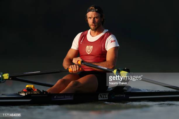 Robbie Manson of New Zealand in action during Day Seven of the 2019 World Rowing Championships on August 31, 2019 in Linz-Ottensheim, Austria.