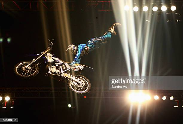 Robbie Marshall demonstrates a trick during the Crusty Demons Unleashed Tour of New Zealand at Vector Arena on February 21 2009 in Auckland New...